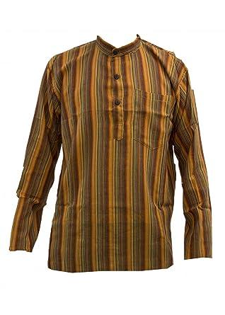 984f38fb6b JAT Clothing Orange Striped Cotton Lightweight Grandad Collarless Shirt  Sizes Small to 5XL: Amazon.co.uk: Clothing