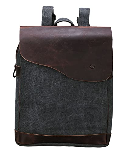 Amazon.com: Simple Genuine Leather Canvas Laptop Schoolbag ...
