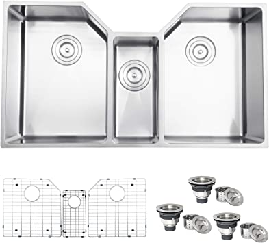 Ruvati 35 Triple Bowl Undermount 16 Gauge Stainless Steel Kitchen Sink Rvh8500 Double Bowl Sinks Amazon Com