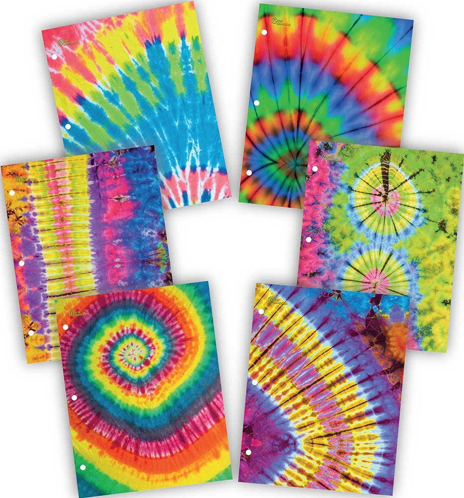 New Generation - Tie Dye - 2 Pocket Folders / Portfolio 6 PACK Letter Size with 3 Hole Punch to use with your Binder Heavy Duty Glossy Finish UV Laminated Folder - Assorted 6 Fashion Design (6 PACK)