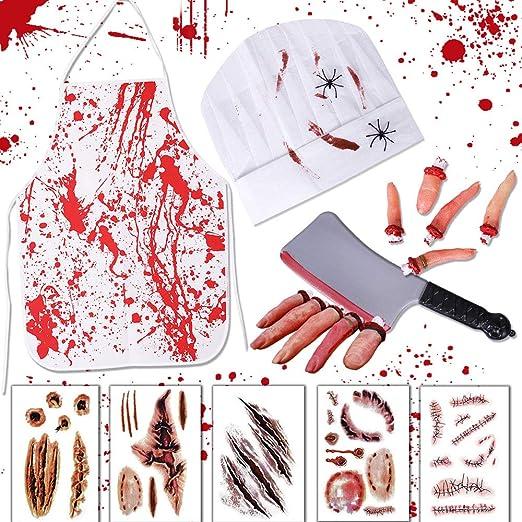 Amazon.com: Lansian Halloween Bloody Carnicero Disfraces ...