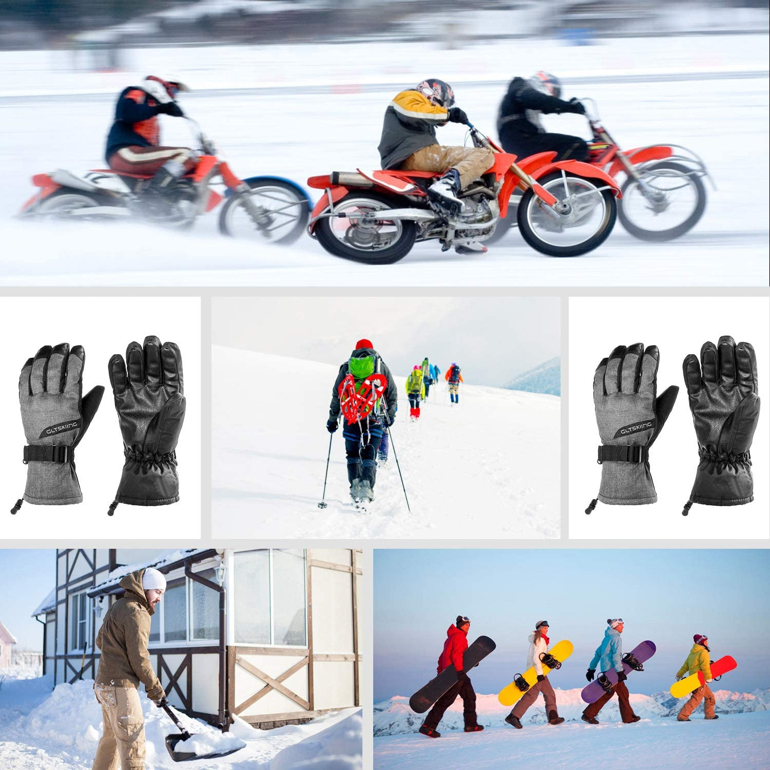 HiCool Winter Ski Gloves for Men Women Double Layer Thicken Warm Snowboard Waterproof Cold Weather Outdoor Gloves