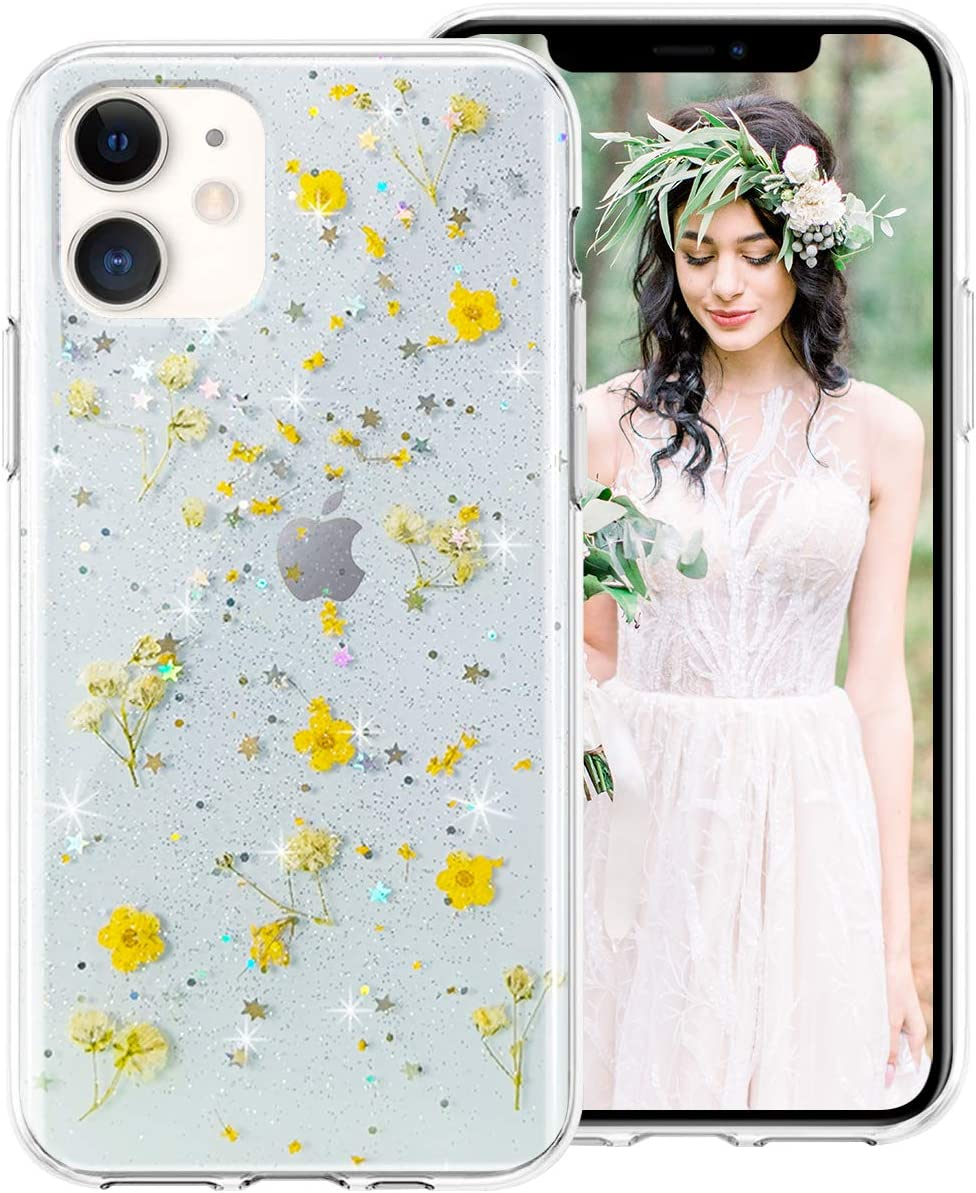 "iDLike iPhone 6S Case,iPhone 6 Case for Girls Women, Clear Glitter Pressed Dried Real Floral Flower Cute Design Soft Silicone Protective Phone Case Cover for Apple iPhone 6S/ 6 4.7"", Yellow"