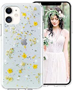 iPhone 6S Plus Case,iPhone 6 Plus Case for Girls Women,iDLike Clear Glitter Pressed Dried Real Floral Flower Cute Design Soft Silicone Protective Phone Case Cover for Apple iPhone6S Plus/6 Plus,Yellow