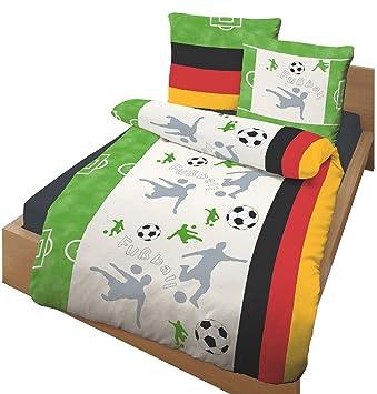 Dobnig 649182 Kinder Bettwasche Fussball 135x200 Feinbiber Okotex 100