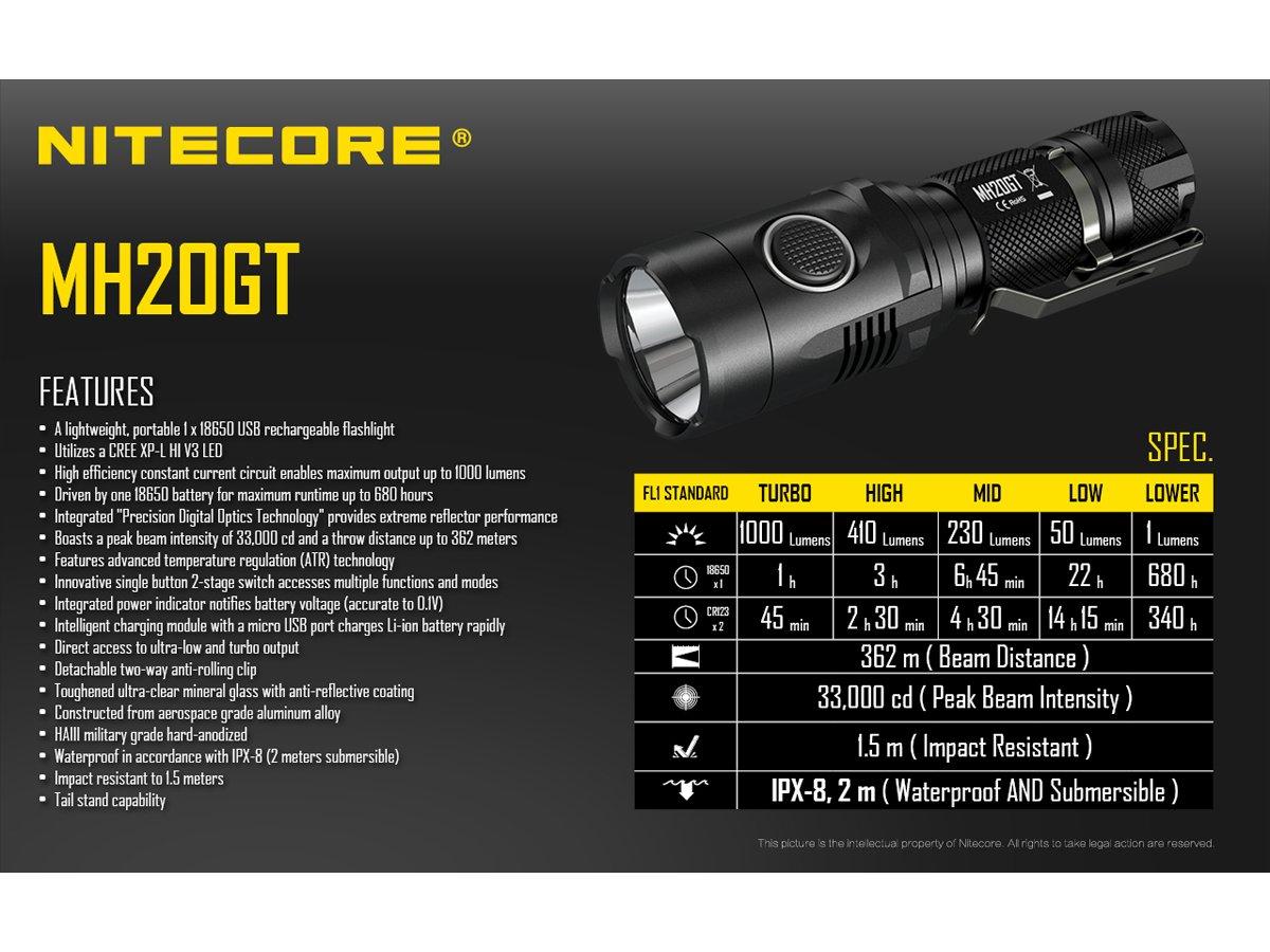 Nitecore MH20GT Rechargeable Flashlight XP-L HI V3 LED -1000 Lumens w?D2 Charger & NL189 18650 3400mAh Battery +FREE Andrew & Amanda Pen