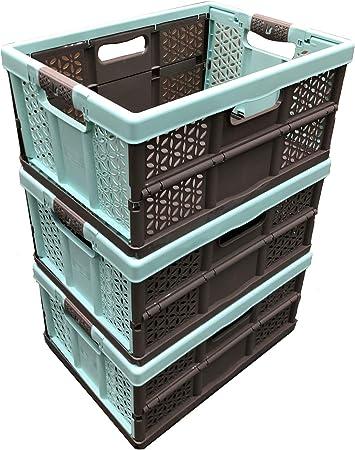 Cajas de almacenamiento de plástico plegables extra fuertes de 32 litros, capacidad de carga de 30 kg por caja, asas suaves, gran valor: Amazon.es: Bricolaje y herramientas