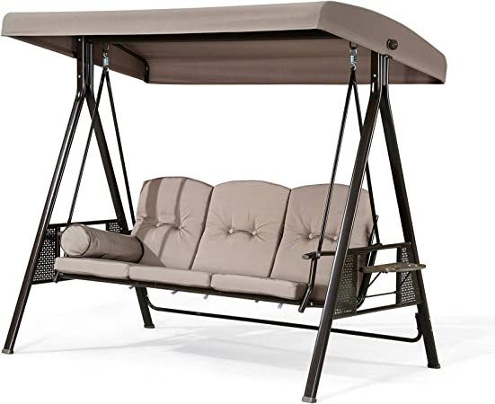 Amazon Com Purple Leaf 3 Seat Deluxe Outdoor Patio Porch Swing