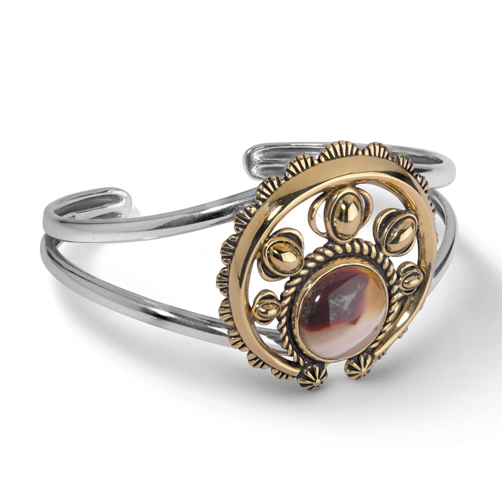 American West, Sterling Silver, Brass, & Mookite Agate Naja Cuff Bracelet