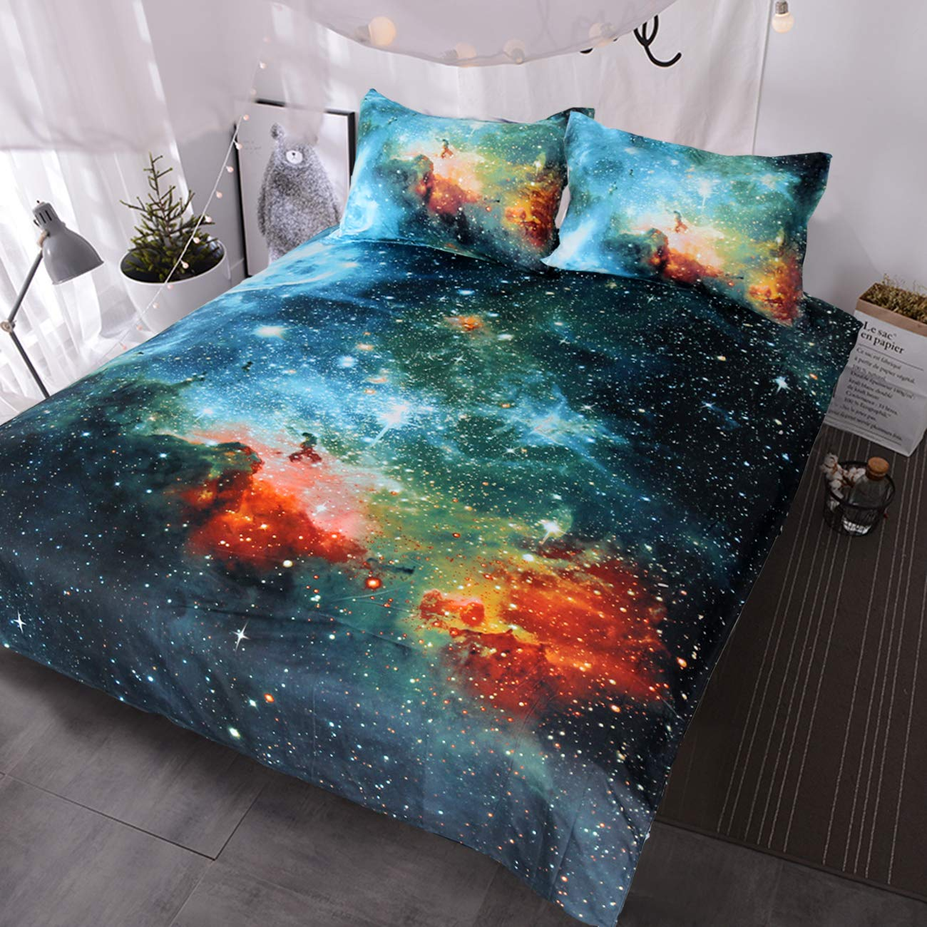 BlessLiving Galaxy Bedding Kids Boys Girls Outer Space Bedding Sets 3 Piece Red Blue Green Nebula Duvet Cover Universe Bed Set (Twin)