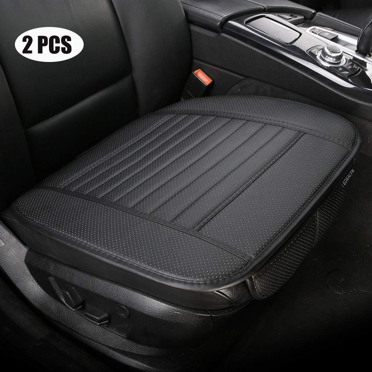 Beige-A 2pcs PU Leather Universal car seat Covers car seat Protector for Car Driver and Passenger seat Bottom EDEALYN Car Seat Cushions