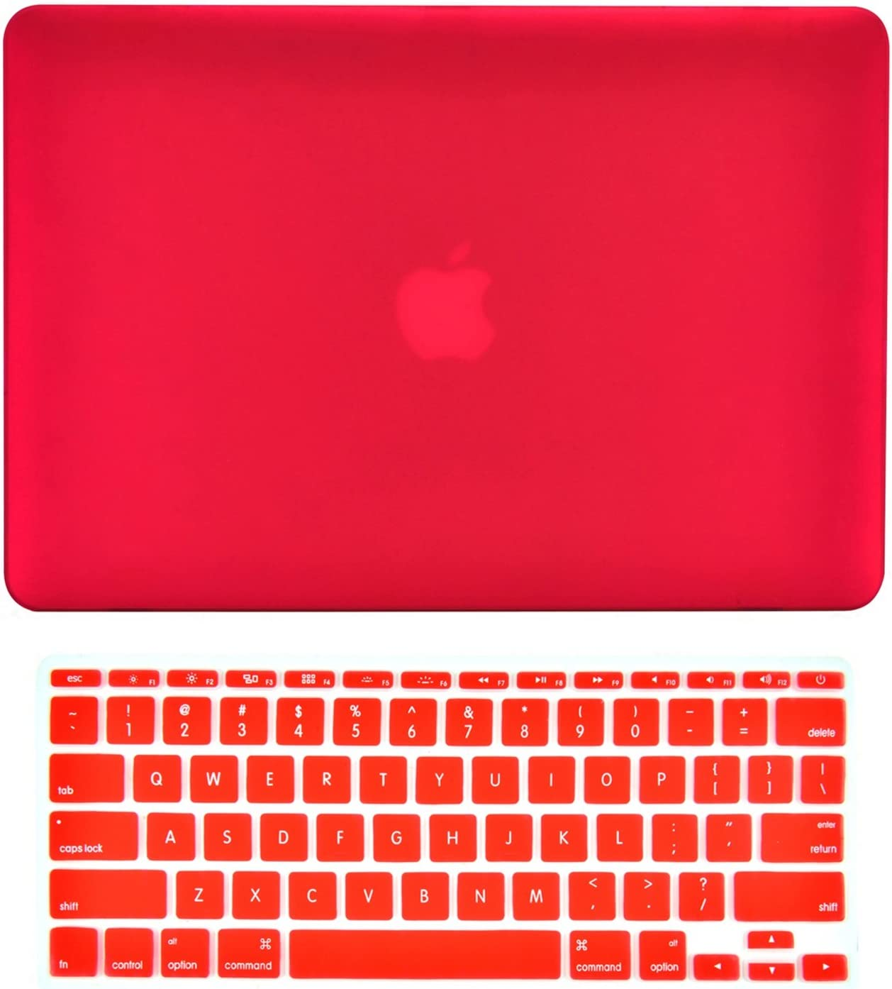 "TOP CASE - 2 in 1 Signature Bundle Rubberized Hard Case and Matching Color Keyboard Cover Compatible MacBook Air 11"" (A1370 and A1465) - Red"
