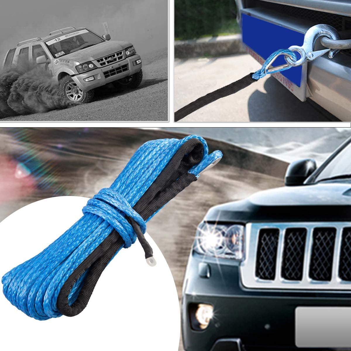 Synthetic Winch Rope 1//4 x 50 7500+Lbs Blue Winch Nylon Line with Black Protecting Sleeve Synthetic Nylon Winch Rope for ATV UTV SUV Jeep Truck Boat