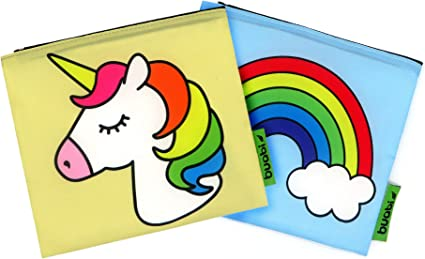 Bolsa merienda Infantil - Porta Bocadillos y Sandwich - Envoltorio Térmico de Tela, ecológico, Reutilizable, sin BPA (Unicornio y Arcoiris): Amazon.es: Hogar