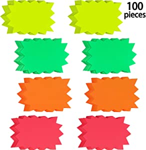100 Pieces Starburst Signs Star Burst Signs Fluorescent Neon Paper for Retail Store, 4 Bright Colors (4.1 x 5.5 Inches)