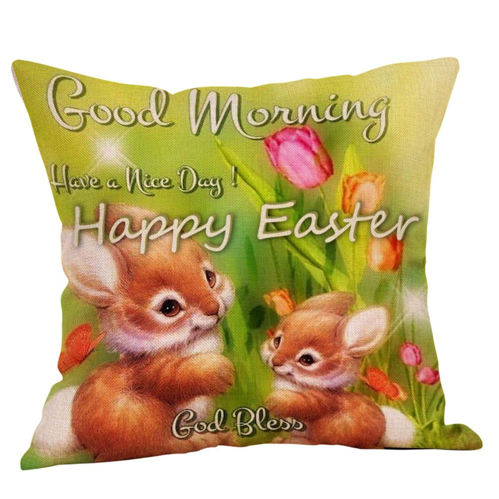 18x18 Inches Easter Gift Colored Eggs Bunnies Burlap Throw Pillow Cover Pillowcase Pillow Case Sofa Decorative Square New Painting Square Bedroom Home Decor (I)