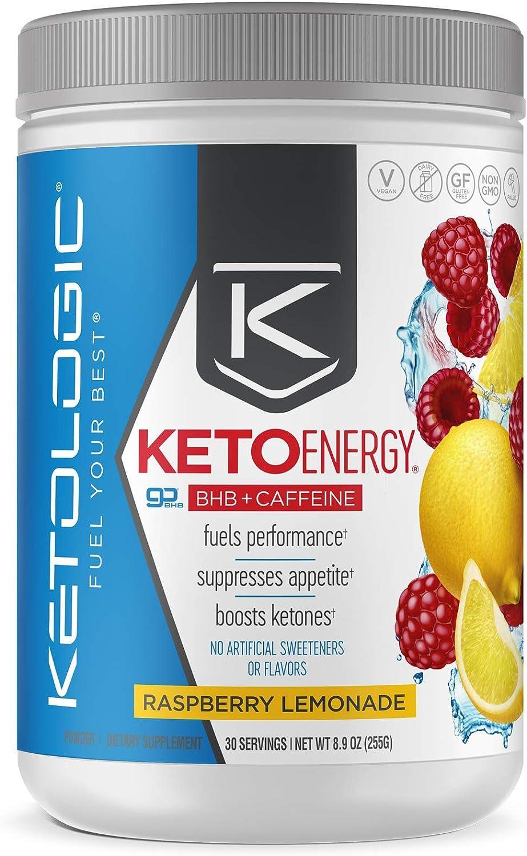 KetoLogic BHB Exogenous Ketones Powder with Caffeine (30 Servings) - Keto Pre-Workout, Boosts Ketosis, Energy & Focus - Support Keto Diet with Beta-Hydroxybutyrate Keto BHB Salts - Raspberry Lemonade: Health & Personal Care