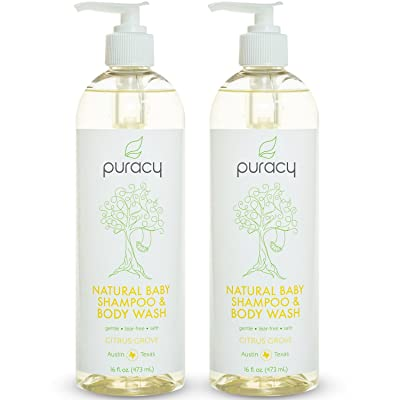 Puracy Natural Baby Shampoo & Body Wash, Tear-Free, Sulfate-Free, Developed by Doctors, 16 Ounce Pump Bottle