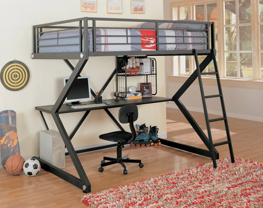 Amazoncom Coaster Loft Bed Full Size Work Station Kitchen Dining