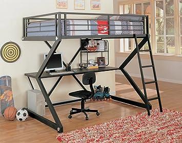 coaster loft bed full size work station