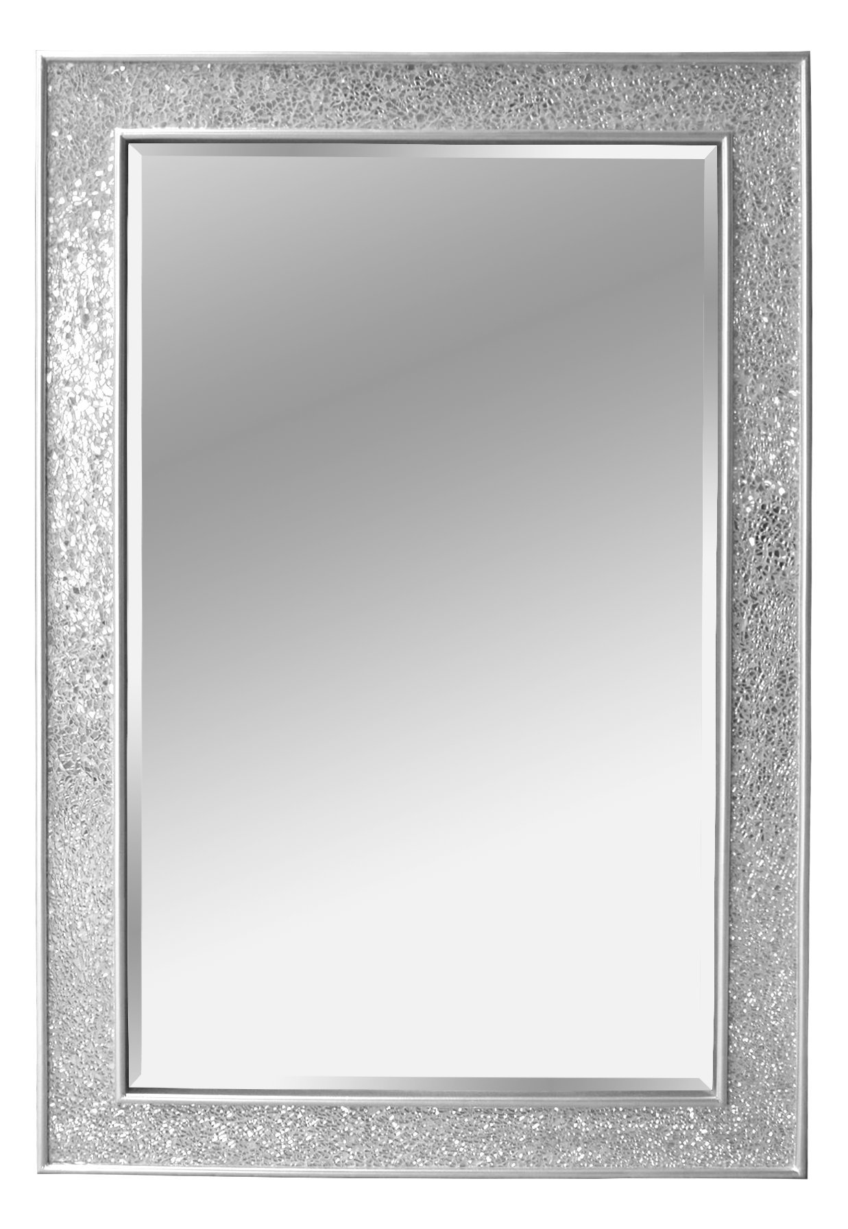 Mosaic silver wall mirror large 90x60 centimeters for Mirror 90 x 60
