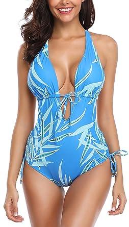 7e2b674b244 B2prity Plunge One Piece Swimsuits Tummy Control Swimwear Sexy Lace-up Back Monokini  Slimming Bathing
