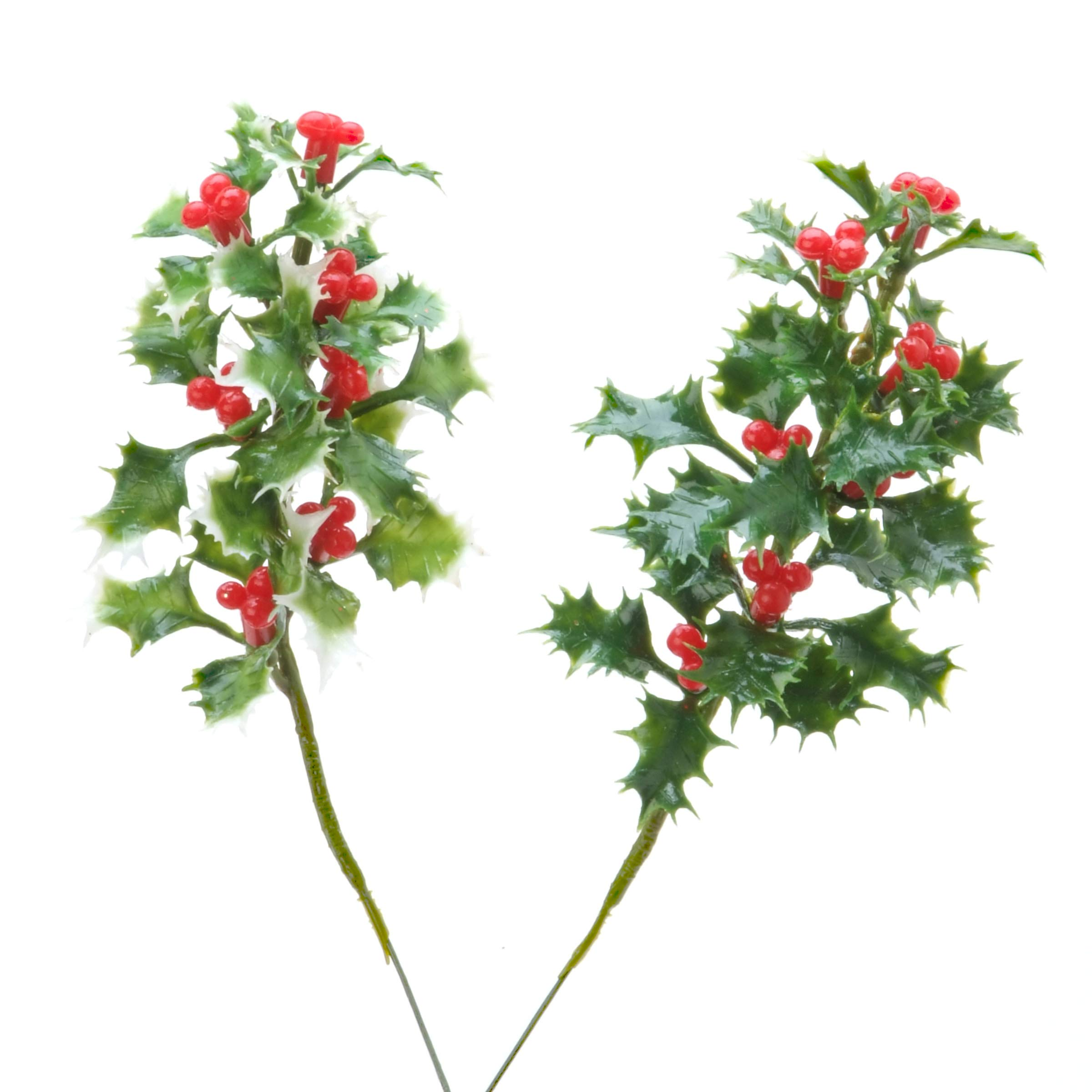 Christmal Floral Holly Pick Assorted Green and Varigated Green 7 Inches (3 Pack)