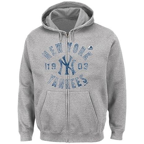 Majestic NEW YORK YANKEES quot;Plate Appearances Full Cremallera Hooded Sweatshirt Sudadera – Grey
