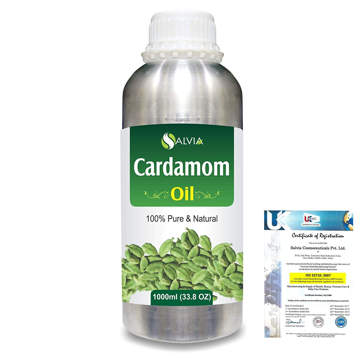 Cardamom (Elettaria cardamomum) Essential Aromatherapy Therapeutic Uncut Undiluted Oil 1000ml/33.8fl oz Express Shipping by Salvia (Image #1)