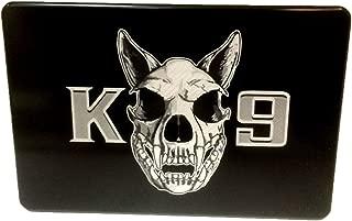 "product image for HMC Billet K - 9 Skull Aluminum Laser Engraved Trailer Hitch Cover - 4"" x 6"""