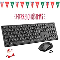 Wireless Keyboard & Mouse【Compact & Lightweight, Plug & Play】VicTsing Comfortable Cordless Keyboard and Optical Mice Set, Quick Responsive Full Size UK Layout, Support Laptop, PC, Mac, Windows etc.