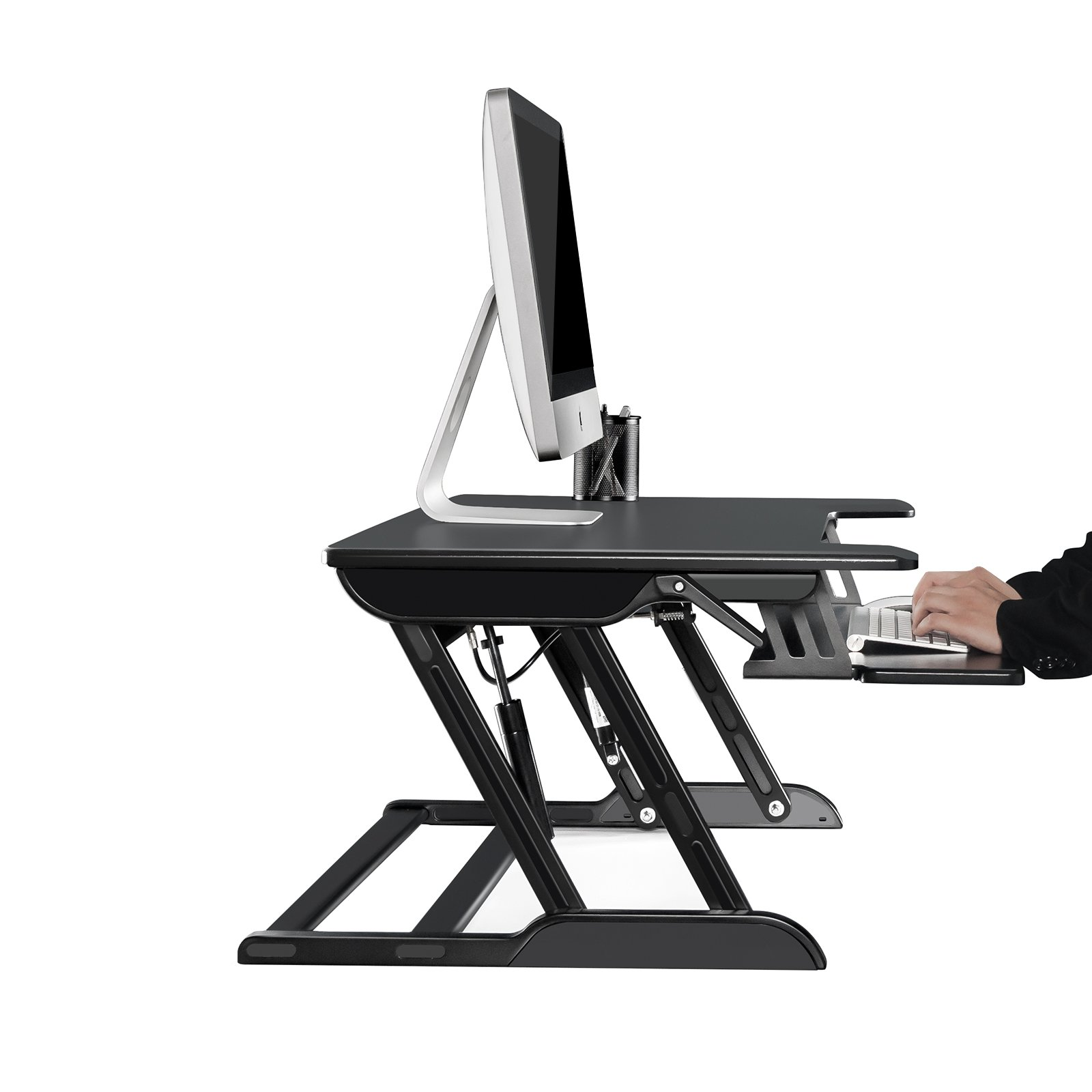 UPERGO 32'' Aluminum Frame Height Adjustable Standing Desk Raiser with Keyboard Tray, Black(ID-32B) by UPERGO