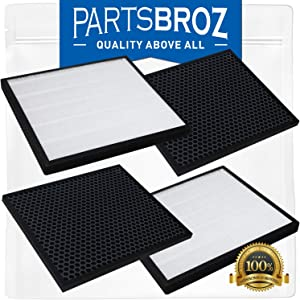 HEPA and Activated Carbon Filters Set (2-Pack) for LEVOIT Air Purifier LV-PUR131 by PartsBroz, 3-Stage Filtration
