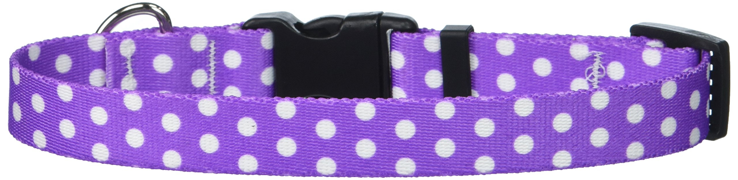 Yellow Dog Design Standard Easy-Snap Collar, New Purple Polka Dot, Small 10'' - 14'' by Yellow Dog Design