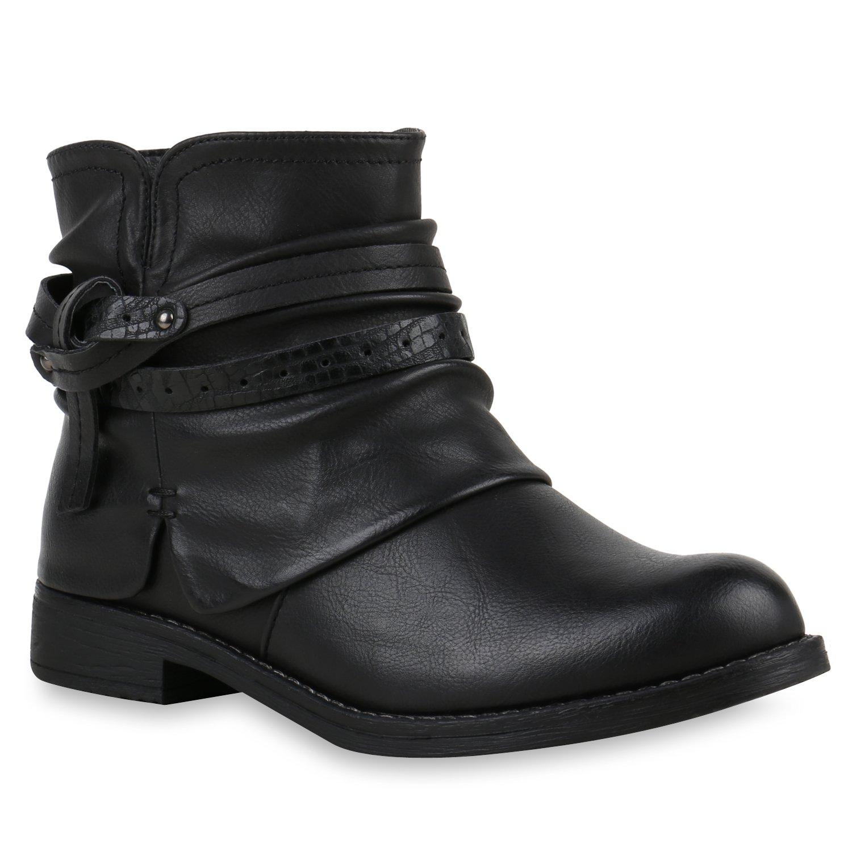 Stiefelparadies Damen Stiefeletten Biker Boots mit Blockabsatz Schnallen Nieten Flandell Schwarz Knoten