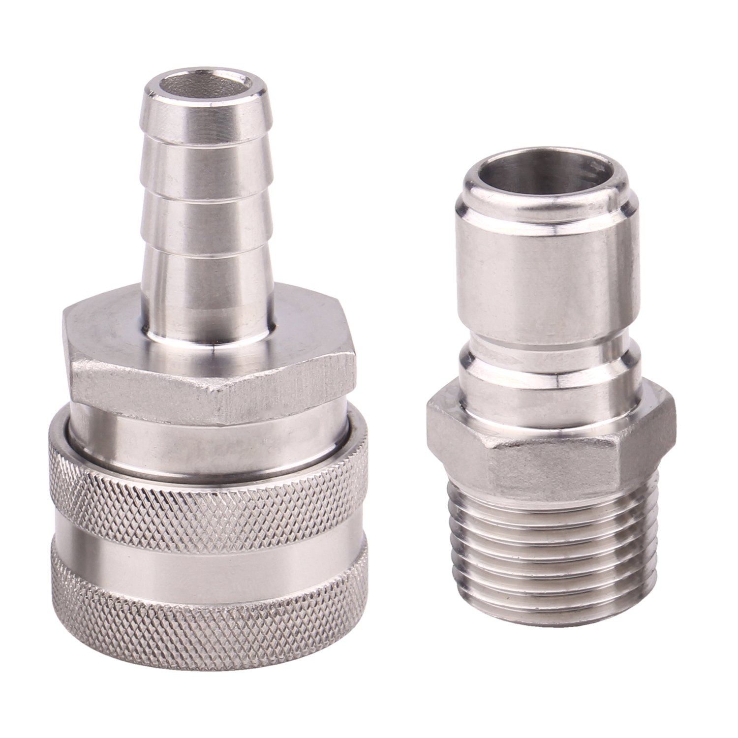 Dernord Stainless Steel Quick Disconnect Set - Beer Brewing Connector Kit (Barb Female/MPT Male)