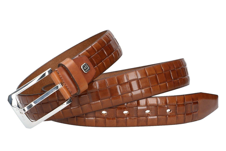 Cinturón hombre PIERRE CARDIN marrón real cuero sin pespuntes MADE IN ITALY  Chic a63f478b0cb9