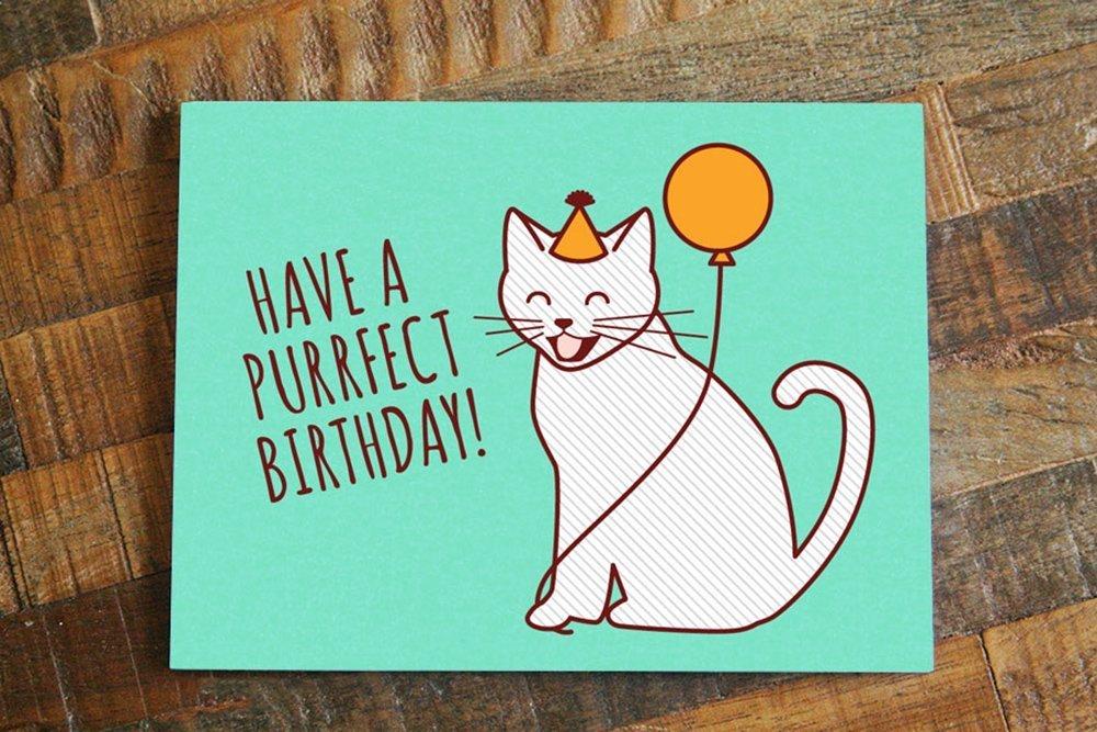 Amazon Have A Purrfect Birthday Cat Card Handmade