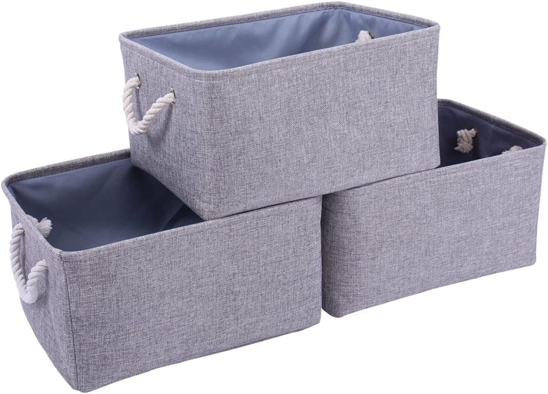 TheWarmHome Foldable Storage Basket with Strong Cotton Rope Handle, Collapsible Storage Bins Set Works As Baby Storage, Toy Storage, Nursery Baskets (Grey, 15.711.88.3)