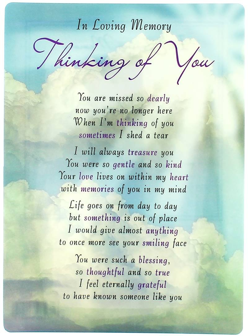 "Loving Memory Open Graveside Memorial Card - Thinking Of You 6.5"" x 4.75"" Regal Publishing"