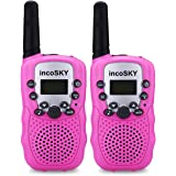 Walkie Talkies - Kids Walkie Talkies incoSKY Kids Toys 22 Channel FRS/GMRS Handheld 2 Way Radio 3 KM Long Range and Clear Sound (1 Pair) Pink, TS31
