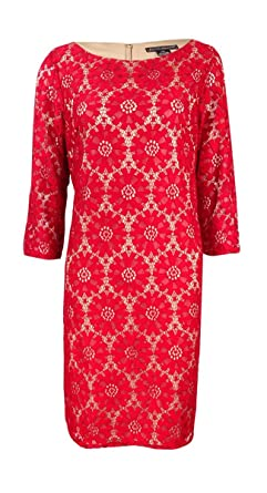 b65e8eff Jessica Howard Womens Petites Lace 3/4 Sleeves Wear To Work Dress Red 14P