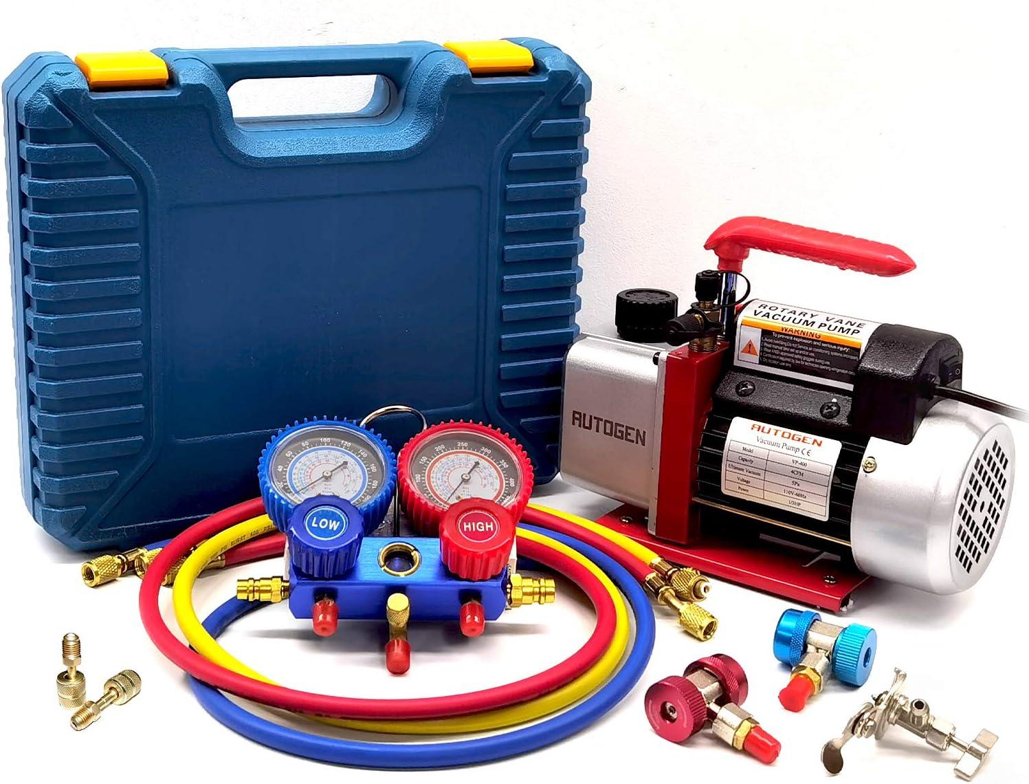 AUTOGEN 4CFM Single-Stage Air Vacuum Pump for HVAC/Auto AC Refrigerant Recharging Manifold Gauge Set