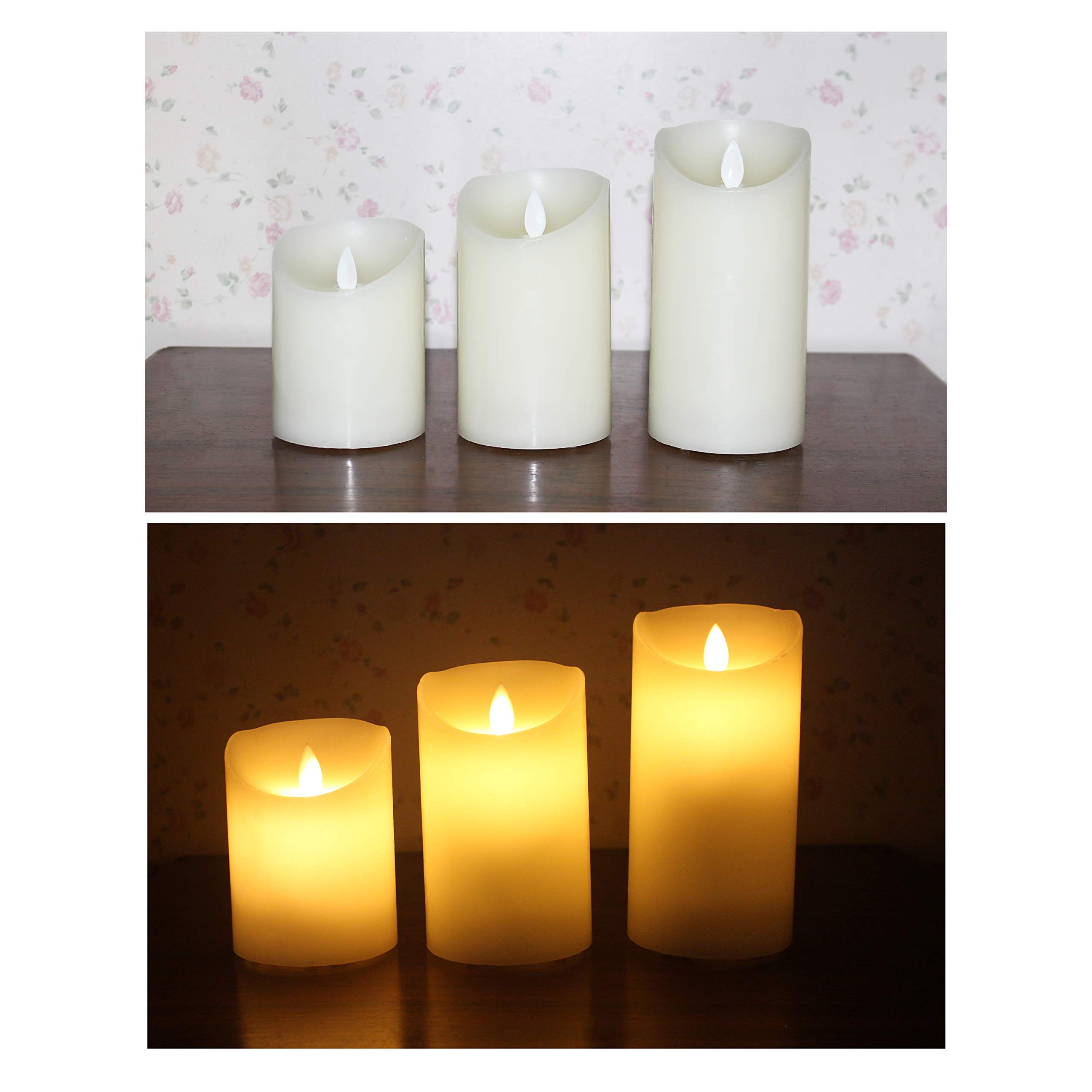 Flameless Candles Electric with Rechargeable Battery (Autbye 2018 Advanced Edition) Extra Bright Ivory 3 Pack 4'' 5'' 6'' Dripless Real Wax Pillars LED Smart Candle Flickering with 10-Key Remote Control by Autbye (Image #5)