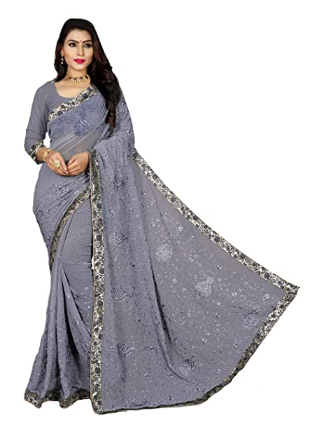 a3734437672ead Shree Ganesh Retail Womens Fancy Chiffon Saree Border Lace & Embroidery Work  With Blouse Piece (GREY 9007): Amazon.in: Clothing & Accessories
