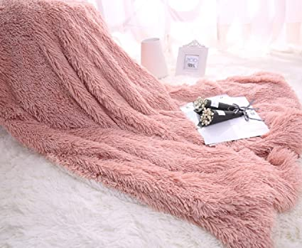 Amazon HOMIGOO Super Soft Shaggy Faux Fur Long Hair Throw Magnificent Pale Pink Throw Blanket