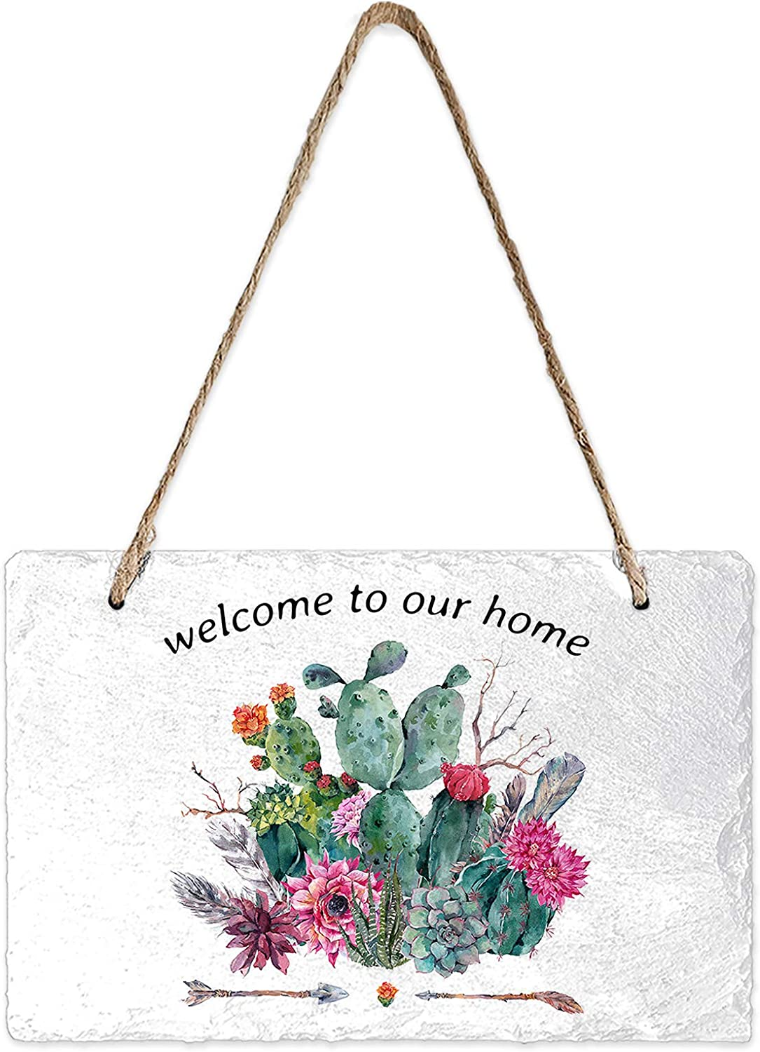 Slate Hanging Wall Sign Tropical Cactus Welcome to Our Home Wall Plaque Wood Signs with Rope Nature Plants DIY Hanging Door Sign for Front Porch/Entryway/Outdoor/Garden Home Decor, 8x5inch