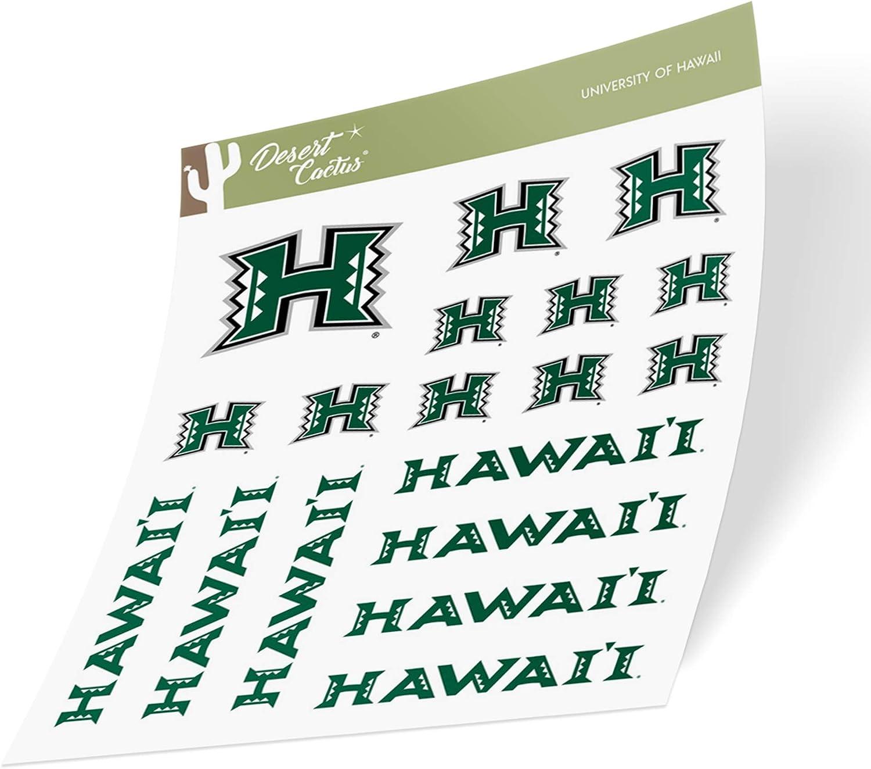 Type 1 Sheet University of Hawaii Rainbow Warriors NCAA Sticker Vinyl Decal Laptop Water Bottle Car Scrapbook