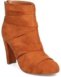 Women Faux Suede Chunky Heel Bootie - Dressy Date Night Casual - Bandage Ankle Boot - GC96 by