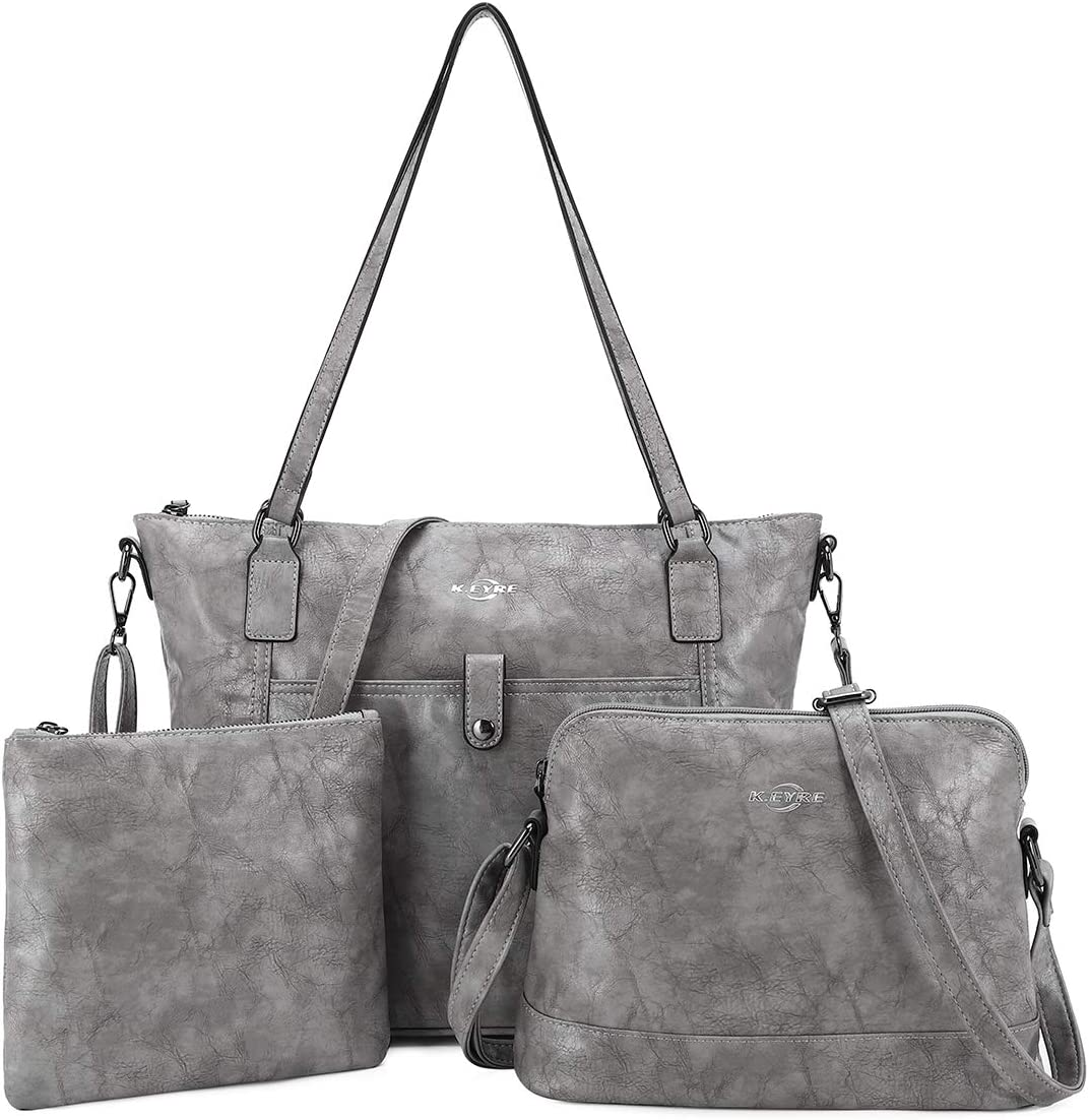 Women Shoulder Handbag Purse Top-Handle Hobo Roomy Casua Ladies' Shoulder Bag Fashion PU Tote Satchel Bag for Women (1A-KL2226#687#5GREY)
